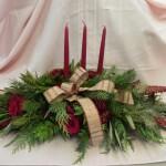 3 candle rose centerpiece