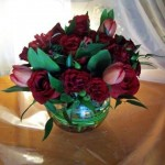 red spray rose, tulip $55.00